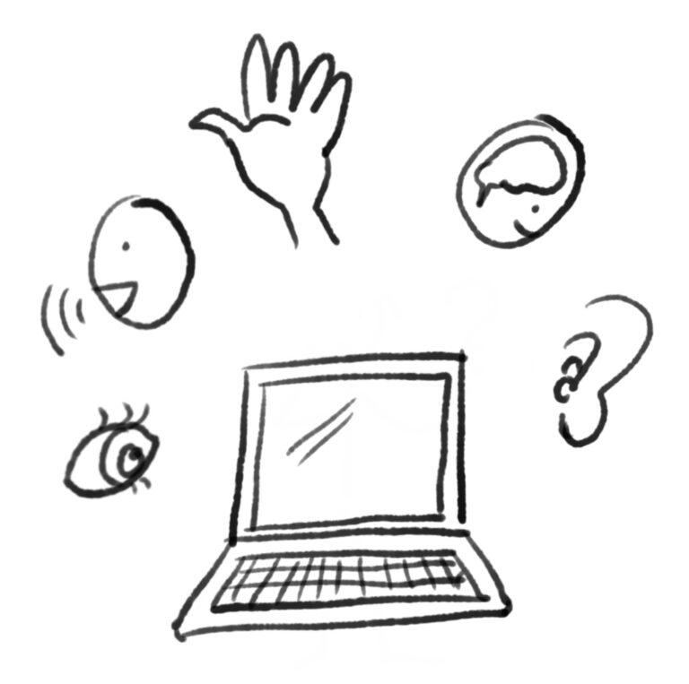 computer med symboler rundt om